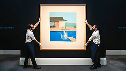 © Licensed to London News Pictures. 07/02/2020. LONDON, UK. Technicians present ''The Splash'' by David Hockney, (Est. £20,000,000 - 30,000,000). Preview of Sotheby's Contemporary Art Sale in their New Bond Street galleries.  Works by artists including Francis Bacon, Yves Klein, Jean-Michel Basquiat and David Hockney will be offered for auction on 11 February 2020.  Photo credit: Stephen Chung/LNP