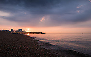 Dawn breaks as the sun rises over South Parade Pier in Southsea