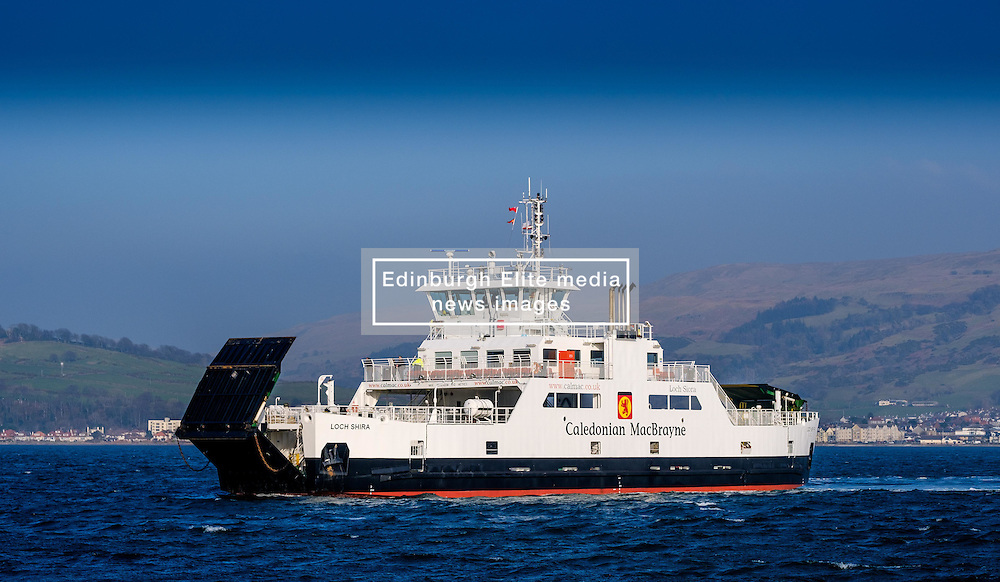 The Calmac ferry 'Loch Shira' making the short crossing from Largs on the Scottish mainland to the island of Great Cumbrae of the west coast of Scotland<br /> <br /> (c) Andrew Wilson | Edinburgh Elite media