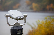 Coin-operated binoculars resembling a face at Devils Lake State Park in Wisconsin.