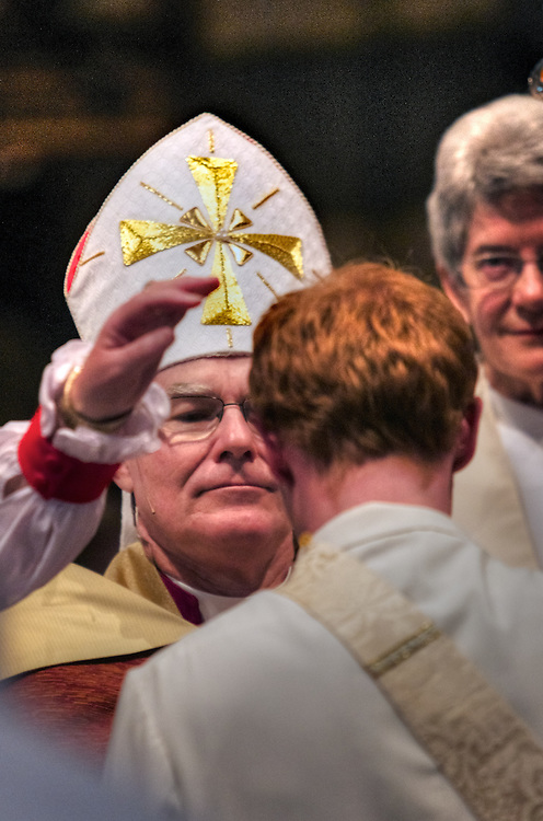 Anglican Archbishop of Melbourne, Dr Philip Freier ordains 20 men and women as Anglican priests at 11am on Saturday 26 November in St Paul's Cathedral, Melbourne. Pic By Craig Sillitoe CSZ/The Sunday Age.26/11/2011 melbourne photographers, commercial photographers, industrial photographers, corporate photographer, architectural photographers, This photograph can be used for non commercial uses with attribution. Credit: Craig Sillitoe Photography / http://www.csillitoe.com<br />