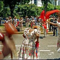 Los tambores de Curiepe que se tocan y bailan en la fiesta de San Juan, son reconocidos nacional e internacionalmente, gracias a la integridad y lealtad a sus orígenes. Todos los años durante la bajada de los Palmeros de Chacao se encargan de esperarlos y recibirlos. Caracas 04 de abril del 2005. <br /> Photography by Aaron Sosa