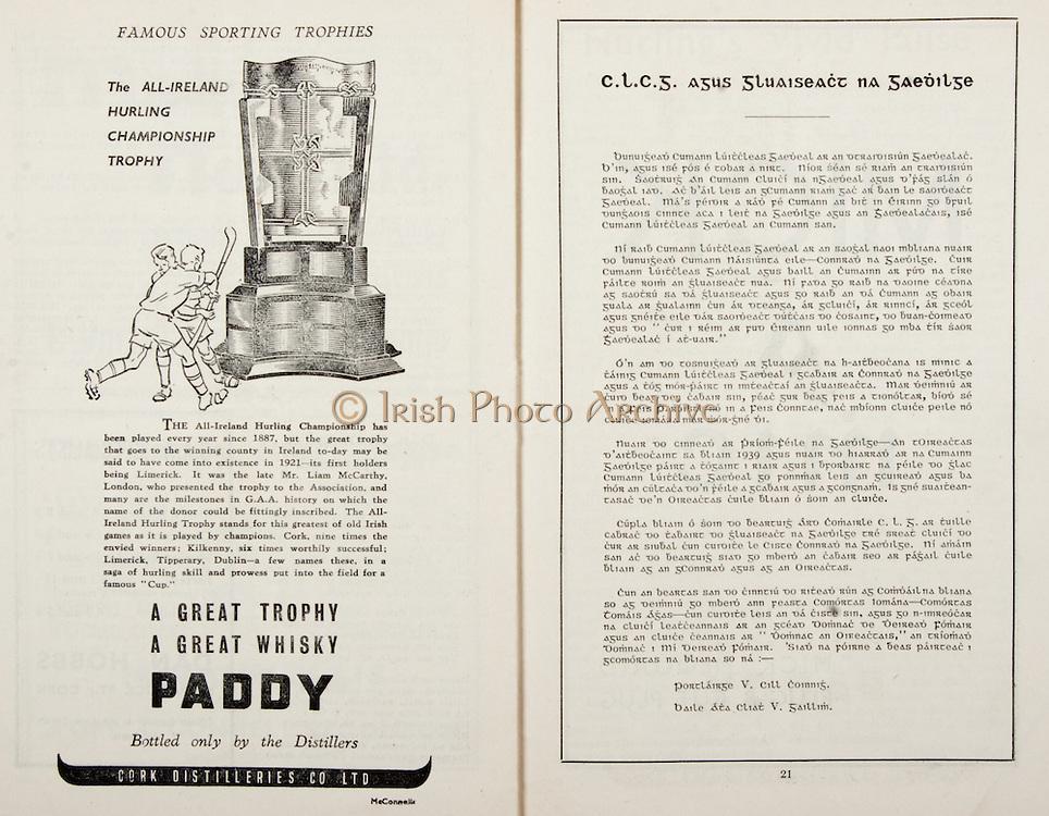 All Ireland Senior Hurling Championship Final,.Brochures,.05.09.1948, 09.05.1948, 5th September 1948, .Waterford 6-7, Dublin 4-2, .Minor Kilkenny v Waterford, .Senior Dublin v Waterford, .Croke Park, ..Advertisements, Paddy Whiskey Cork Distilleries Co. Ltd, ..Articles, CLCG Agus Gluaiseact Na Gaedilge,