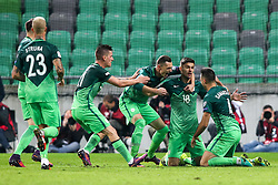 Benjamin Verbic of Slovenia, Milivoje Novakovic of Slovenia, Rok Kronaveter of Slovenia and Miral Samardzic of Slovenia celebrate after Kronaveter scored first goal for Slovenia during football match between National teams of Slovenia and Slovakia in Round #2 of FIFA World Cup Russia 2018 qualifications in Group F, on October 8, 2016 in SRC Stozice, Ljubljana, Slovenia. Photo by Ziga Zupan / Sportida