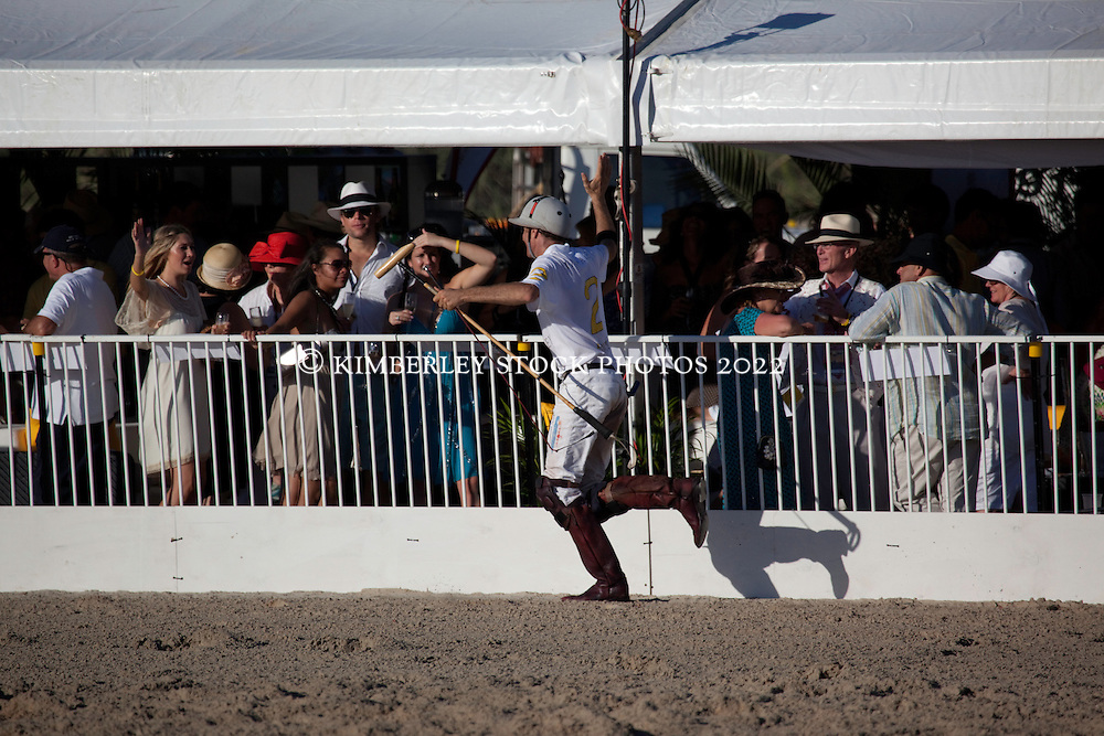 A polo player greets the crowd at the Paspaley beach polo on Broome's Cable Beach.
