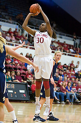 November 1, 2009; Stanford, CA, USA;  Stanford Cardinal forward Nnemkadi Ogwumike (30) shoots a jump shot during the first half against the Vanguard Lions at Maples Pavilion.