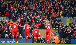 LIVERPOOL, ENGLAND - Saturday, November 8, 2014: Liverpool's Emre Can celebrates scoring the first goal against Chelsea during the Premier League match at Anfield. (Pic by David Rawcliffe/Propaganda)