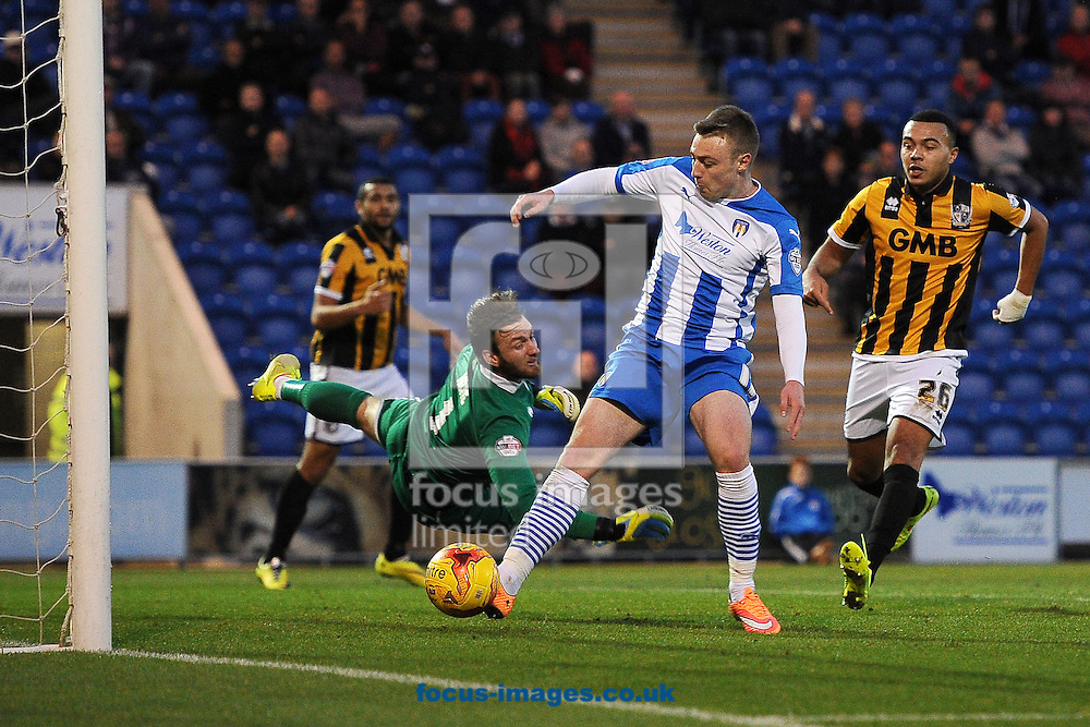 Freddie Sears of Colchester United scores his sides first goal to make the scoreline 1-2 during the Sky Bet League 1 match between Colchester United and Port Vale at the Weston Homes Community Stadium, Colchester<br /> Picture by Richard Blaxall/Focus Images Ltd +44 7853 364624<br /> 01/11/2014