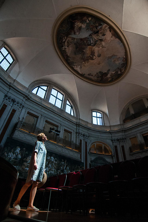 A tourist admires the restored fresco of Tiepolo, dated 1755, at Chiesa della Pietà on July 12, 2017 in Venice, Italy. Chiesa della Pietà has just opened to the public the restored fresco of Tiepolo with the original colors and a museum with original documents of the institution clled La Pietà that in the past hosted abandoned children, and also with original musical instruments used by Vivaldi to teach to the children. ©Simone Padovani