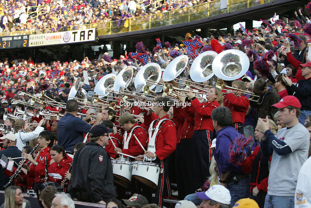 22 November 2008: The Ole Miss band performs in the stands during the NCAA football game between the Ole Miss Rebels and the LSU Tigers at Tiger Stadium in Baton Rouge, LA.