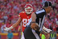 Tight end Travis Kelce #87 of the Kansas City Chiefs looks to the official for a pass interference penalty after a catch attempt against the Jacksonville Jaguars at Arrowhead Stadium during the fourth quarter of the game in Kansas City, Missouri.