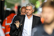 Manchester United manager Jose Mourinho arrives at the stadium, before the Premier League match between Swansea City and Manchester United at the Liberty Stadium, Swansea, Wales on 19 August 2017. Photo by Andrew Lewis.