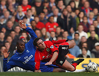 Photo. Javier Garcia<br />22/02/2003 Chelsea v Blackburn, FA Barclaycard Premiership, Stamford Bridge<br />Chelsea's William Gallas sends David Dunn tumbling and was booked