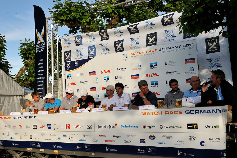 The skippers hold their press conference after day 5. Photo: Chris Davies/WMRT