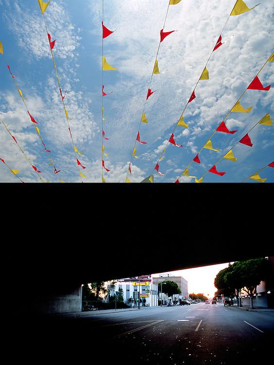 Banderines colgantes de colores adornan una gasolinera de Los Angeles en un luminoso día de verano..Oscuridad en un calle del barrio de Pico Rivera, bajo un puente.