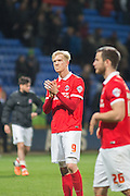 Charlton Athletic striker Simon Makienok (9) applauds the travelling fans after his side are relegated during the Sky Bet Championship match between Bolton Wanderers and Charlton Athletic at the Macron Stadium, Bolton, England on 19 April 2016. Photo by John Marfleet.