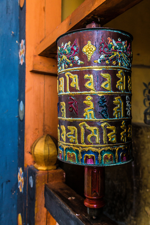 Beautiful prayer wheel Bhutan
