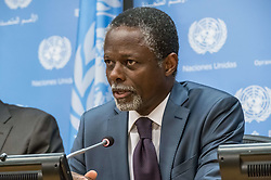 June 13, 2017 - New York, NY, United States - In conjunction with his attendance at a series of United Nations Security Council meetings at UN Headquarters, Parfait Onanga-Anyanga, the UN Secretary-General's Special Representative for the Central African Republic and Head of the MINUSCA peacekeeping mission, held a press briefing to discuss the status of peacekeeping efforts and ongoing efforts to address allegations of sexual exploitation and abuse committed by peacekeepers. (Credit Image: © Albin Lohr-Jones/Pacific Press via ZUMA Wire)