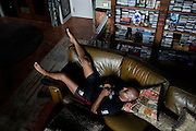 Monday, July 8, 2013 REGGIE WILLIAMS : Former Cincinnati Bengals player and Cincinnati City Councilman Reggie Williams lays back at his home in Orlando. He takes many opportunities to lay back and elevate his legs. The Enquirer/Jeff Swinger