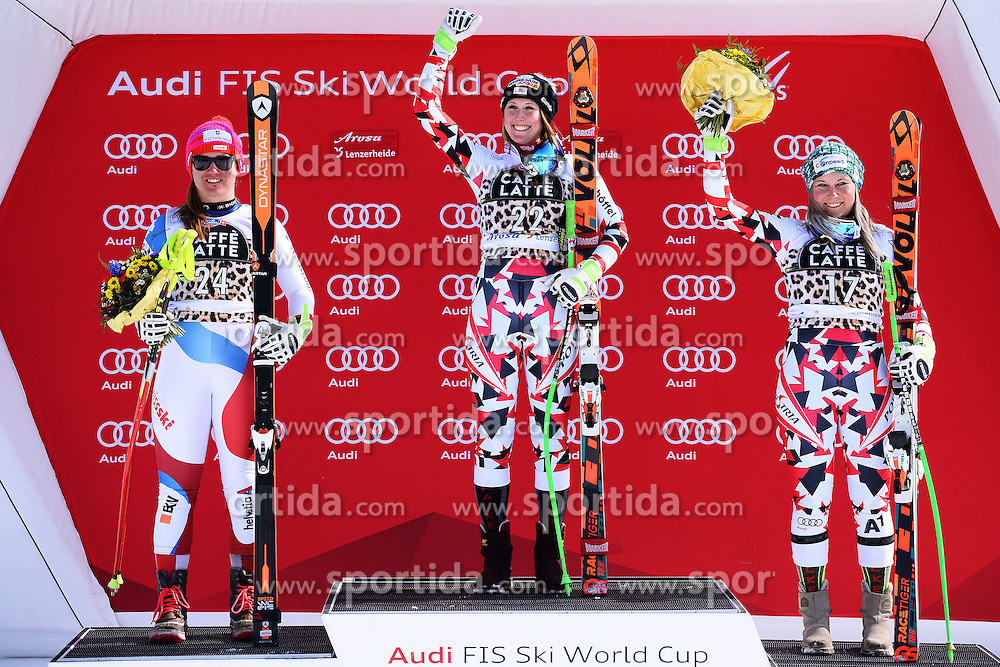 12.03.2016, Pista Silvano Beltrametti, Lenzerheide, SUI, FIS Weltcup Ski Alpin, Lenzerheide, Super G, Damen, Siegerehrung, im Bild Fabienne Suter (SUI), Cornelia Huetter (AUT) und Tamara Tippler (AUT) jubeln auf dem Podium // on podium for the ladie's Super G of Lenzerheide FIS Ski Alpine World Cup at the Pista Silvano Beltrametti in Lenzerheide, Switzerland on 2016/03/12. EXPA Pictures &copy; 2016, PhotoCredit: EXPA/ Freshfocus/ Manuel Lopez<br /> <br /> *****ATTENTION - for AUT, SLO, CRO, SRB, BIH, MAZ only*****