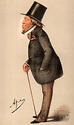 Meyer Amschel de Rothschild (1818-1874) English sportsman and art collector, fourth son of Nathan Meyer Rothschild. Liberal Member of Parliament for Hythe, Kent (1859-1874). Cartoon by 'Ape' (Carlo Pellegrini - 1838-1889)  from 'Vanity Fair', London, 27 May 1871.  Chromolithograph.