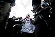 Roma 25th feb 2015, leader and parliamentarians of Lega Nord party, demonstrates at Campidoglio's Square, demanding the resignation of mayor of Rome. In the picture Matteo Salvini