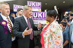 © Licensed to London News Pictures. 02/06/2017. London, UK. <br /> Former UKIP leader Nigel Farage and UKIP General Election candidate Peter Harris meet local people in Dagenham Heathway during a general election campaign. Photo credit: Ray Tang/LNP