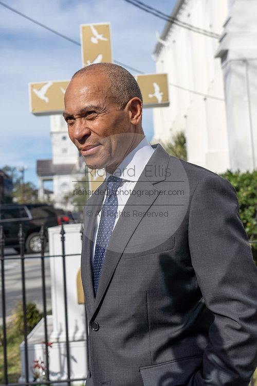 Democratic presidential hopeful Gov. Deval Patrick stops to speak with the media after attending church service at the historic Mother Emanuel AME Church January 1, 2020 in Charleston, South Carolina. The service celebrated Emancipation Day, marking the abolition of slavery in the United States.