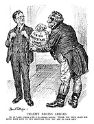 """Charity Begins Abroad. Mr de Valera (relaxing a little of his customary austerity). """"Thank you once again for being more kind to our hospitals than you are to your own."""" (John Bull holds up the Irish Sweepstake Funds bag of cash)"""
