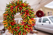 A wreath made from chili peppers at the Santa Fe Farmers Market in the historic district December 12, 2015 in Santa Fe, New Mexico.