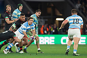 Twickenham, Surrey United Kingdom. Nicolas SANCHEZ, ready to pass the ball, during the England vs Argentina. Autumn International, Old Mutual Wealth series. RFU. Twickenham Stadium, England. <br /> <br /> Saturday  11.11.17.    <br /> <br /> [Mandatory Credit Peter SPURRIER/Intersport Images]