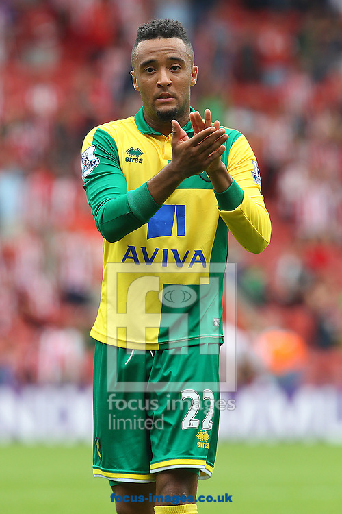 Nathan Redmond of Norwich applauds the traveling support at the end of the Barclays Premier League match at the St Mary's Stadium, Southampton<br /> Picture by Paul Chesterton/Focus Images Ltd +44 7904 640267<br /> 30/08/2015