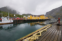 Fishing boat in harbour of Lofoten Islands Norway