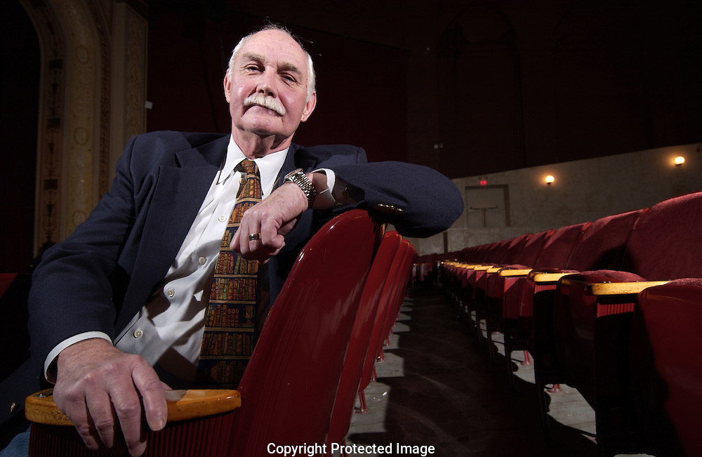 Bill McLucky sits in chair that was donated in memory of his father at the Williams Center in Rutherford. McLucky is the Director of the theatre and coordinates all the events that it has.<br /> Photo by Michael Bocchieri