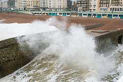 © Licensed to London News Pictures. 06/02/2016. Brighton, UK. Powerful waves are hitting Brighton Pier. Today February 6th 2016. Photo credit: Hugo Michiels/LNP