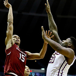 Feb 1, 2017; Baton Rouge, LA, USA; South Carolina Gamecocks guard PJ Dozier (15) shoots over LSU Tigers forward Brian Bridgewater (20) during the first half of a game at the Pete Maravich Assembly Center. Mandatory Credit: Derick E. Hingle-USA TODAY Sports