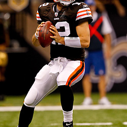 Oct 24, 2010; New Orleans, LA, USA; Cleveland Browns quarterback Colt McCoy (12) during a game against the New Orleans Saints at the Louisiana Superdome. The Browns defeated the Saints 30-17.  Mandatory Credit: Derick E. Hingle