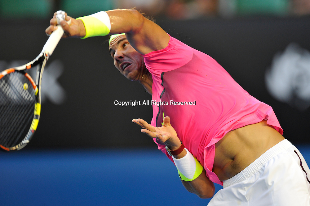 21.01.2015 Australian Open Tennis from Melbourne Park. Rafael Nadal of Spain returns a shot in his match against Tim Smyczek of the USA on day three of the 2015 Australian Open at Melbourne Park, Melbourne, Australia.