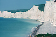 The Seven Sisters Chalk cliffs, East Sussex, England.
