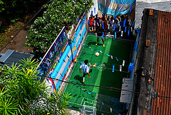 June 15, 2018 - Kolkata, India - Kolkata streets are decorated with the theme of World Cup football and people are cheering their boost up with the football fever. (Credit Image: © Avishek Das/Pacific Press via ZUMA Wire)