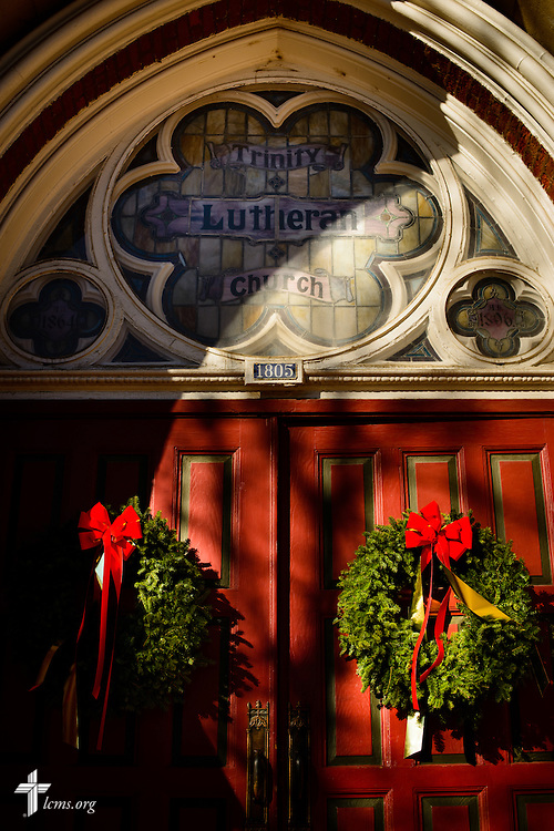 The decorated church doors and entrance on Wednesday, Dec. 9, 2015, at Trinity Lutheran Church in Soulard, a part of St. Louis. LCMS Communications/Erik M. Lunsford