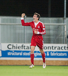 Aberdeen's Shaughnessy celebrates after scoring their first goal.<br /> Falkirk 0 v 5 Aberdeen, the third round of the Scottish League Cup.<br /> &copy;Michael Schofield.