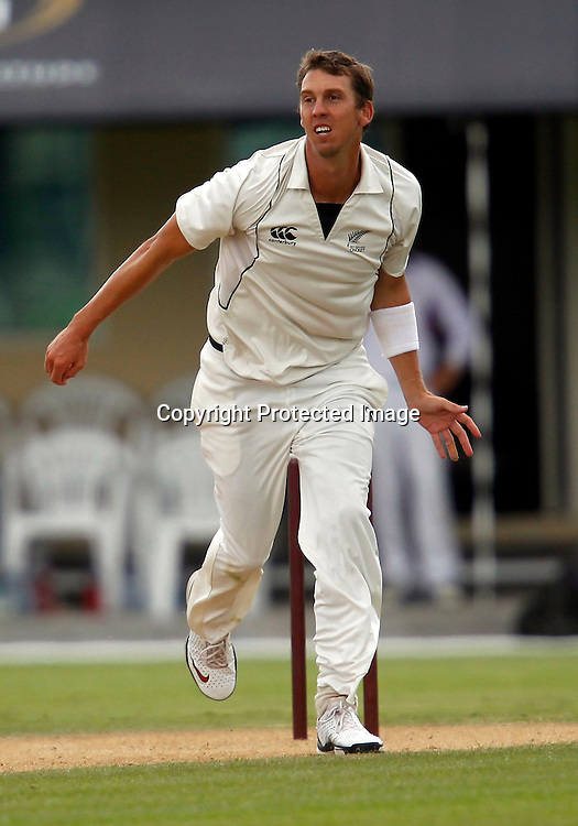 Brent Arnel bowling. International Cricket, New Zealand XI v Pakistan, Day 2, Cobham Oval Whangarei, Monday 3rd January 2011. Photo: Shane Wenzlick / www.photosport.co.nz