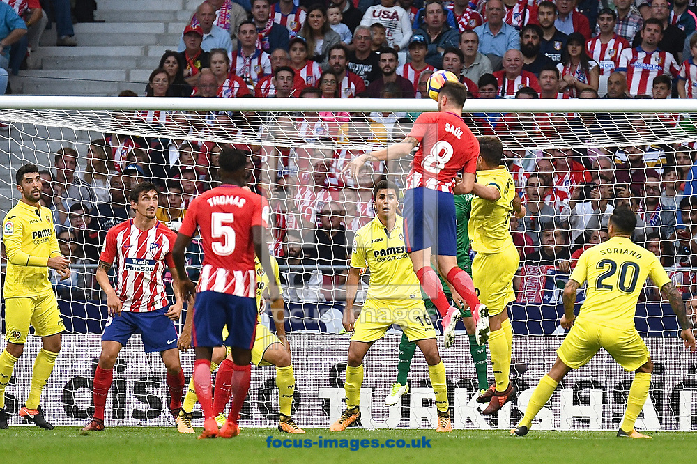 Sa&uacute;l &Ntilde;iguez of Atletico Madrid heads at goal during the La Liga match at the Wanda Metropolitano Stadium, Madrid<br /> Picture by Kristian Kane/Focus Images Ltd +44 7814 482222<br /> 28/10/2017