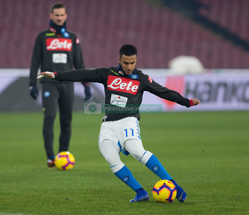 January 13, 2019 - Naples, Campania, Italy - Ounas of SSC Napoli seen warming up before the Serie A football match between SSC Napoli vs US Sassuolo at San Paolo Stadium. (Credit Image: © Ernesto Vicinanza/SOPA Images via ZUMA Wire)