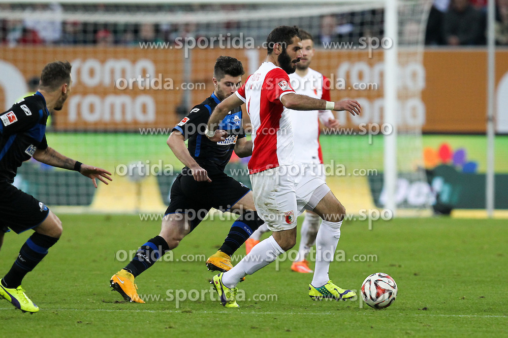 08.11.2014, SGL Arena, Augsburg, GER, 1. FBL, FC Augsburg vs SC Paderborn 07, 11. Runde, im Bild l-r: im Zweikampf, Aktion, mit Moritz Stoppelkamp #11 (SC Paderborn 07) und Halil Altintop #7 (FC Augsburg) // during the German Bundesliga 11th round match between FC Augsburg and SC Paderborn 07 at the SGL Arena in Augsburg, Germany on 2014/11/08. EXPA Pictures &copy; 2014, PhotoCredit: EXPA/ Eibner-Pressefoto/ Kolbert<br /> <br /> *****ATTENTION - OUT of GER*****