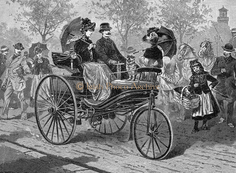 Petrol-driven car by Benz & Co., capable of 16 km per hour. Engraving published Leipzig c1895.