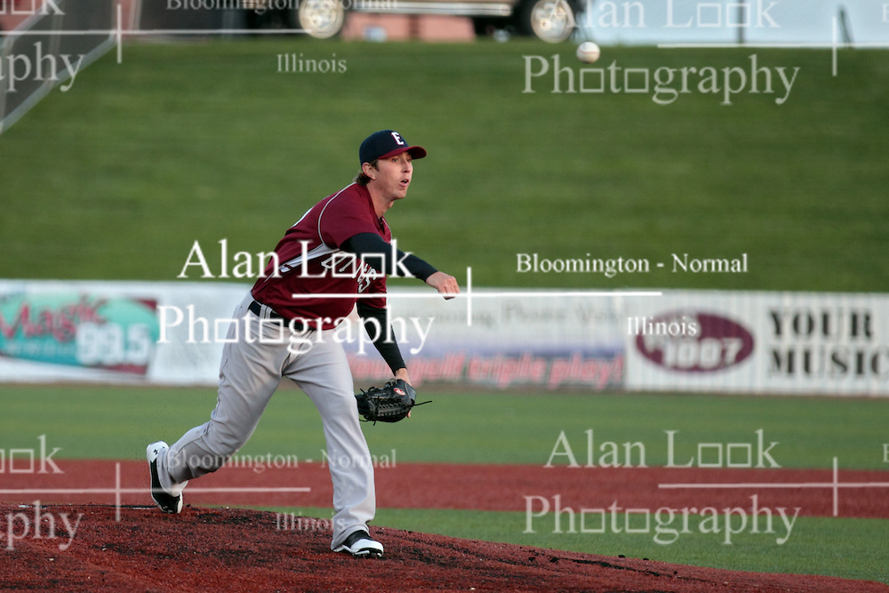 16 May 2014:  Zach Petersime during a Frontier League Baseball game between the Evansville Otters and the Normal CornBelters at Corn Crib Stadium on the campus of Heartland Community College in Normal Illinois