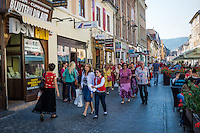 BRASOV, ROMANIA - October 2, 2012: View of the Strada Replubicii in Bra?ov, Romania, with 227,961 people living there is the 8th most populous city in Romania and a popular tourist destination.
