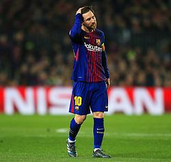 Lionel Messi of Barcelona looks dejected - Mandatory by-line: Matt McNulty/JMP - 14/03/2018 - FOOTBALL - Camp Nou - Barcelona, Catalonia - Barcelona v Chelsea - UEFA Champions League - Round of 16 Second Leg